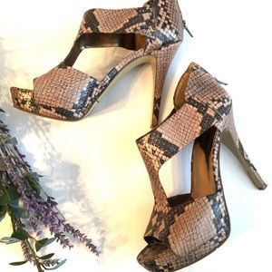 "NINE WEST ""snakeskin"" stilettos"
